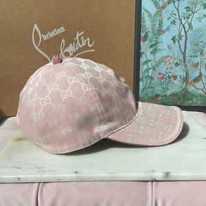 $530 Gucci Lame Pink White stretchy Baseball Hat